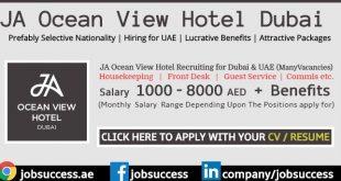JA Ocean View Hotel Dubai Careers